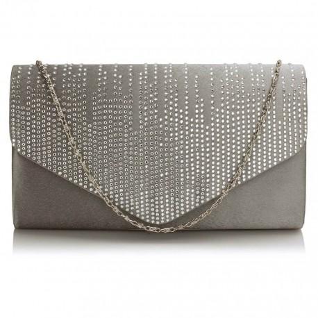 Dámské elegantní šedé psaníčko zdobené kamínky, Barva Šedá L&S Fashion LSE70