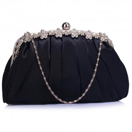 Dámské luxusní psaníčko Vintage černé 088, Barva Černá L&S Fashion LSE0088