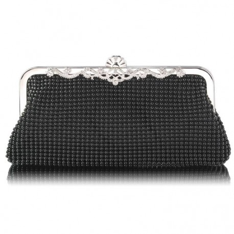 Dámské luxusní zdobené psaníčko černé LS47, Barva Černá L&S Fashion LSE0047