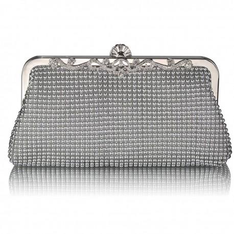 Dámské luxusní zdobené psaníčko stříbrné LS47