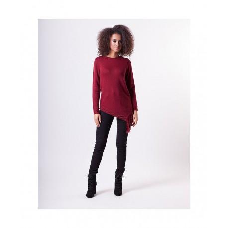 Dámský asymetrický svetr Megie vínový