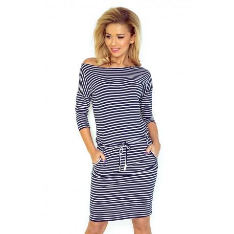 Dámské sportovní šaty v námořnické stylu 1351 tmavě modré s bílou, Velikost L, Barva Modro - bílá NMC 13-51