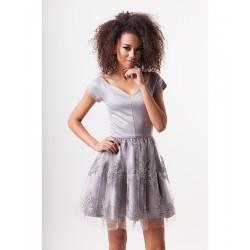 Luxusní dámské šaty EMILY s krajkovou sukní šedé