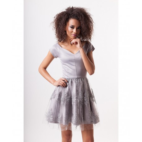 Luxusní dámské šaty EMILY s krajkovou sukní šedé, Velikost L, Barva Šedá MOSQUITO