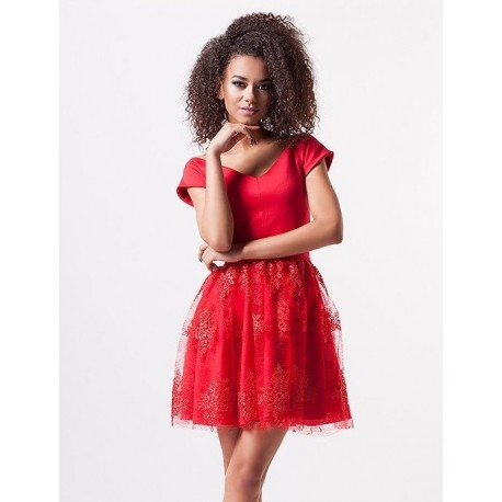 Luxusní dámské šaty EMILY s krajkovou sukní červené b9656f4fcc