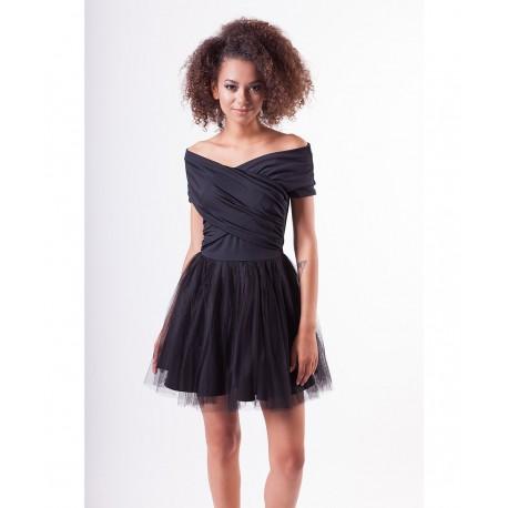 Krásné šaty s tylovou sukní SARAH černé, Velikost M, Barva Černá MOSQUITO