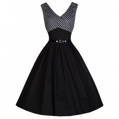 Dámské retro šaty Lindy Bop Valerie černé, Velikost 42, Barva Černá Lindy Bop 8064
