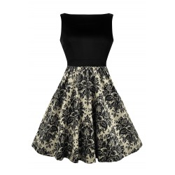 Dámské retro šaty Lady Vintage Damask Print Two-Tone Tea Dress