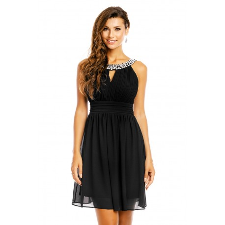 Dámské šaty zdobené kamínky černé, Velikost S, Barva Černá Mayaadi Deluxe 373