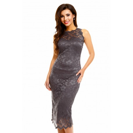 Dámské šaty Paris s krajkou tmavě šedé