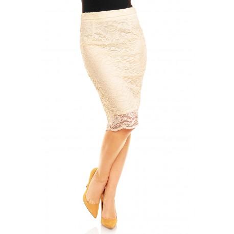 Dámská krajkovaná sukně krémová, Velikost M, Barva Krémová Mayaadi Deluxe 319