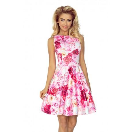 Dámské elegantní květinové šaty ROSE bez rukávu 12516, Velikost M, Barva Barevná NUMOCO 125-16