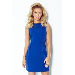 Elegantní šaty bez rukávu se záhyby v pase modré