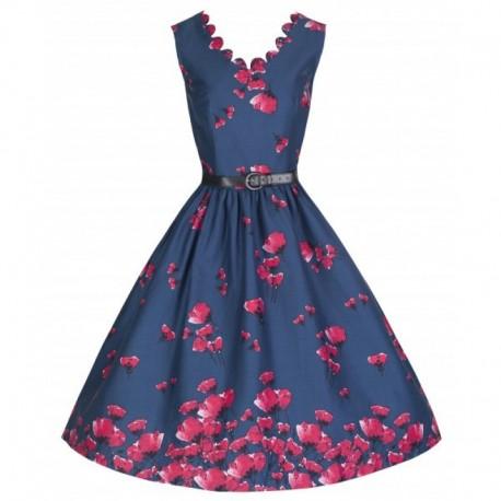 Dámské retro šaty Lindy Bop DARIA tmavě modré, Velikost 36, Barva Tmavě modrá Lindy Bop 8630