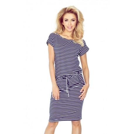 Dámské šaty Lora se zavazovací tkanicí a kapsami modro - bílé