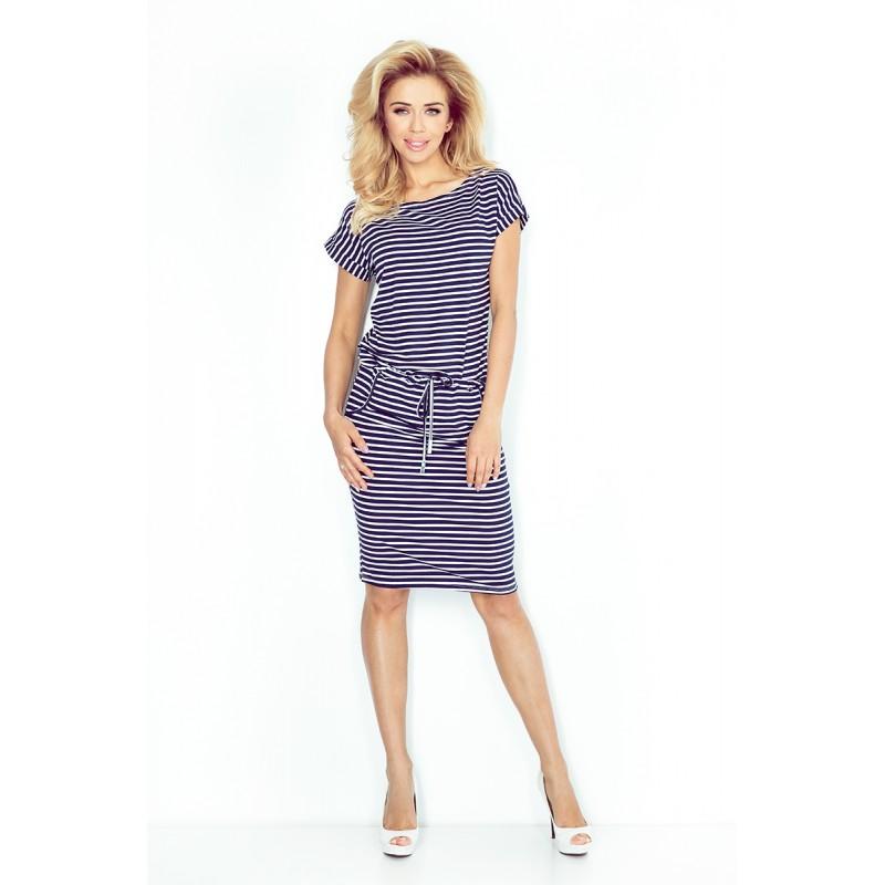 96182910b4c7 ... Dámské šaty Lora se zavazovací tkanicí a kapsami modro - bílé ...