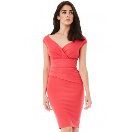 Dámské šaty CityGoddess Amy korálové, Velikost 40, Barva Korálová CityGoddess DR1092AB