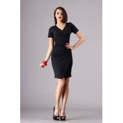 Dámské elegantní společenské šaty s krátkým rukávem černé