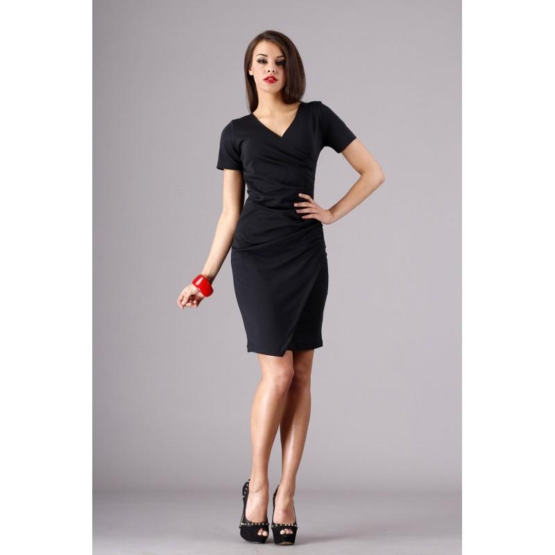 Dámské elegantní společenské šaty s krátkým rukávem černé, Velikost 42, Barva Černá
