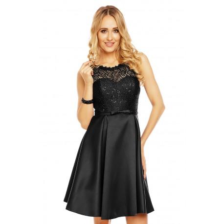 Dámské šaty doplněné krajkou Charm´s Paris černé, Velikost M, Barva Černá Charm's Paris 9077