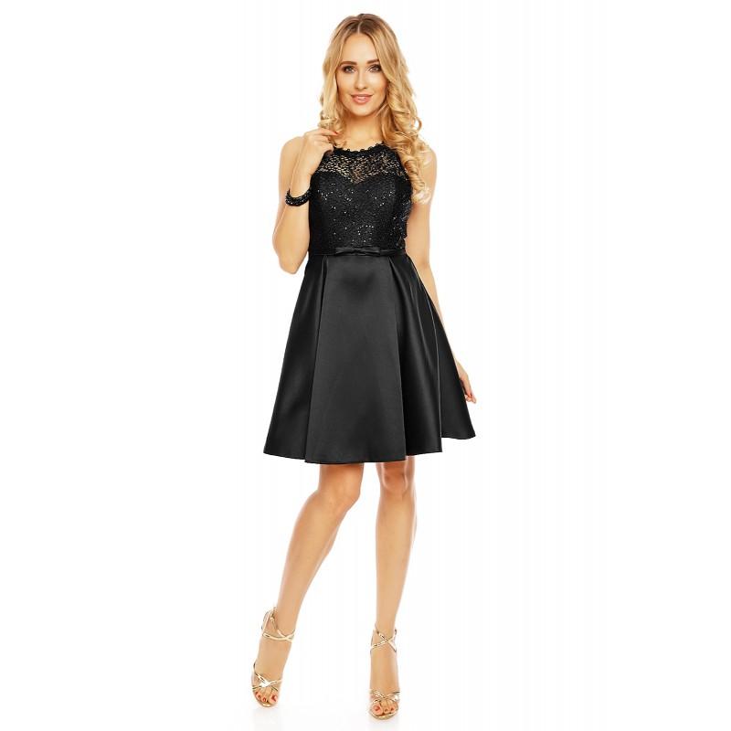 Dámské šaty doplněné krajkou Charm´s Paris černé - Alltex-fashion.cz e9087d0a78