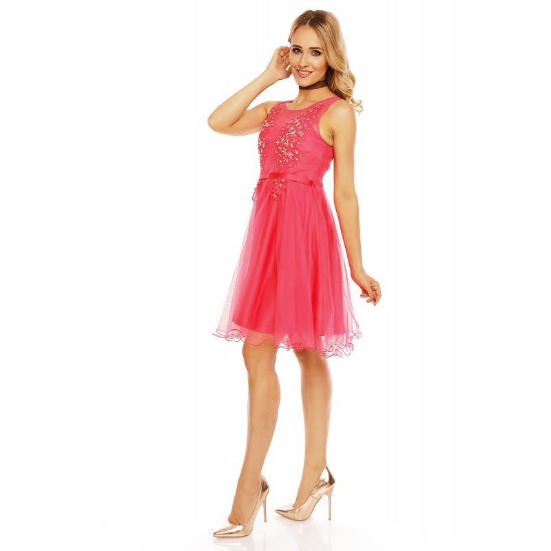 63b513ac8eb Dámské společenské šaty bez rukávů ISABELLE malinové 9085 - Alltex ...