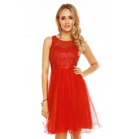 Dámské společenské šaty bez rukávů CATHERINE červené 9082, Velikost L, Barva Červená Charm's Paris 9082