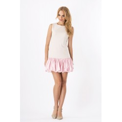 Dámské dvoubarevné šaty bez rukávu béžovo - růžové
