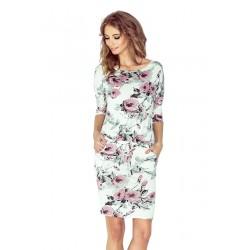 Dámské šaty s kapsami a zavazovací tkanicí květinové