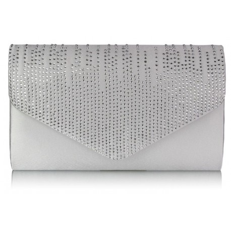 Dámské elegantní stříbrné psaníčko zdobené kamínky, Barva Stříbrná L&S Fashion LSE0070