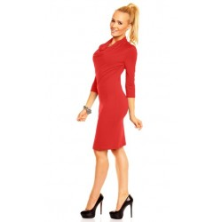Dámské společenské šaty Monika s 3/4 rukávem červené
