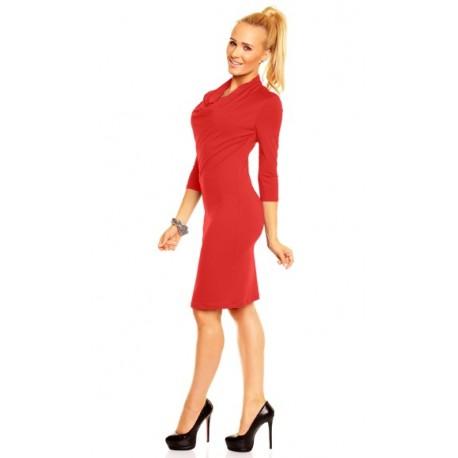 Dámské společenské šaty Monika s 3/4 rukávem červené, Velikost L, Barva Červená Lental