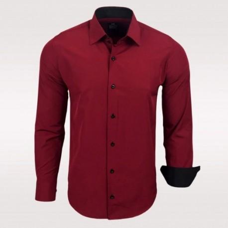 Pánská košile Slim Fit s dlouhým rukávem Rusty Neal vínová b6130550b2