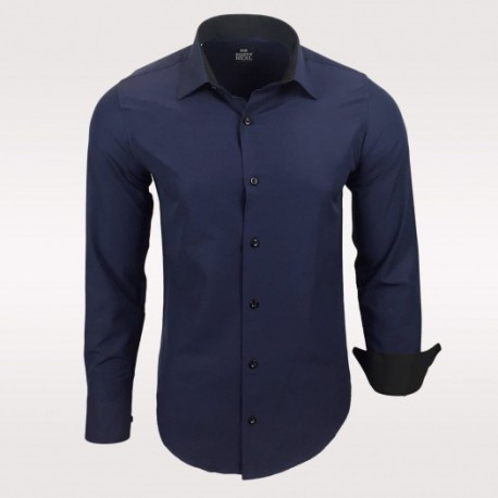 Pánská košile Slim Fit s dlouhým rukávem Rusty Neal tmavě modrá ... 1b0718062c