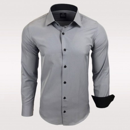 Pánská košile Slim Fit s dlouhým rukávem Rusty Neal šedá - Alltex ... 50bd70b27b