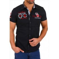 Pánská košile s krátkým rukávem zdobená výšivkami a nápisy černá