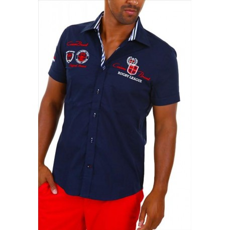 Pánská košile s krátkým rukávem zdobená výšivkami a nápisy