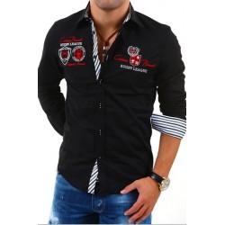 Pánská košile s dlouhým rukávem zdobená nápisy černá