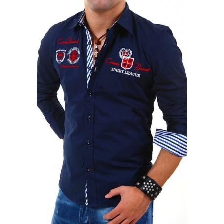 Pánská košile s dlouhým rukávem zdobená nápisy tmavě modrá