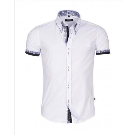 Pánská košile s krátkým rukávem Slim Fit bílá - Alltex-fashion.cz c51dd170d2