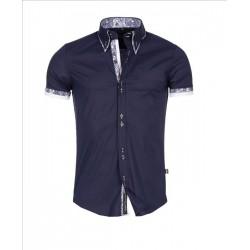 Pánská košile s krátkým rukávem Slim Fit tmavě modrá