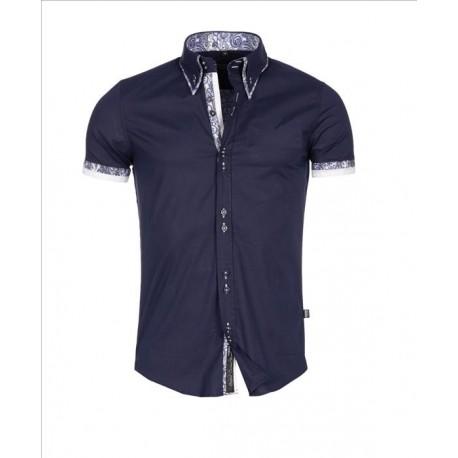 Pánská košile s krátkým rukávem Slim Fit tmavě modrá - Alltex-fashion.cz e6b3155fab