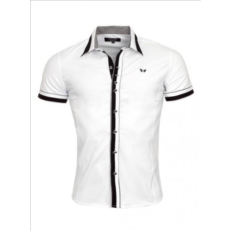 Pánská košile s krátkým rukávem CRSM bílá, Velikost XXL, Barva Bílá Rusty Neal 9023
