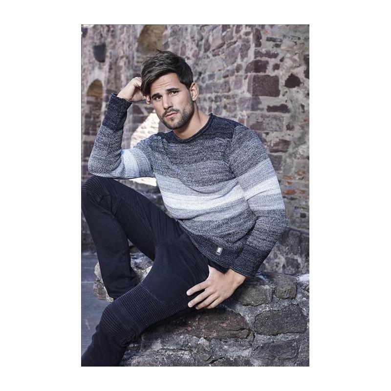Pánský svetr s melírovaným vzorem černo-šedý - Alltex-fashion.cz 7e4ea721a1