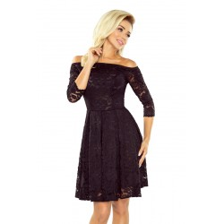 Krajkové šaty Sally s 3/4 rukávem černé