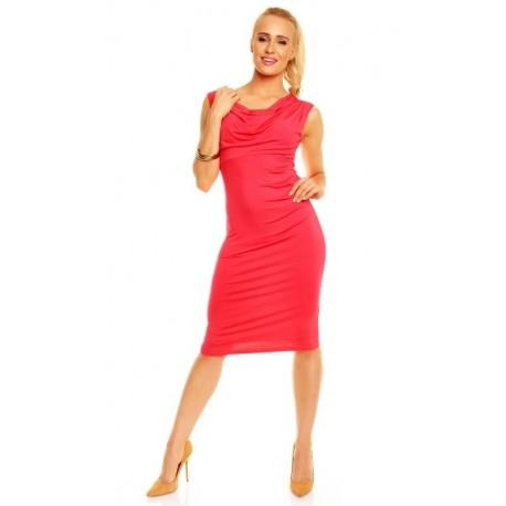 Dámské společenské šaty Izabela bez rukávu korálové, Velikost L, Barva Korálová Lental