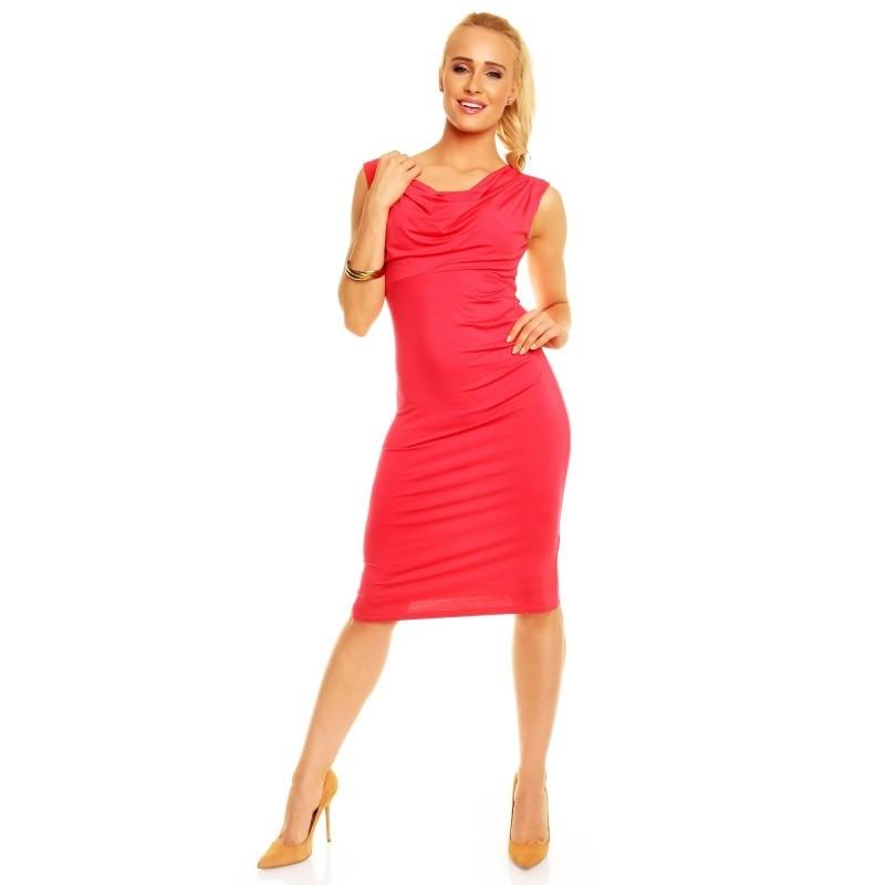 Dámské společenské šaty Izabela bez rukávu korálové, Velikost L, Barva Korálová