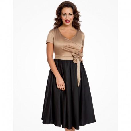 Dámské retro šaty Lindy Bop Gina gold black , Velikost 36, Barva Černá Lindy Bop 6124