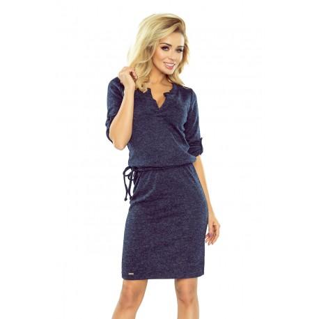 Elegantní šaty se zavazovací tkanicí tmavě modré