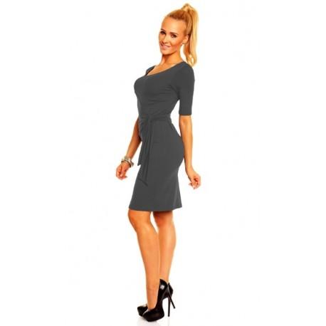 Dámské společenské šaty s krátkým rukávem Lea tmavě šedé, Velikost L, Barva Tmavě šedá Lental